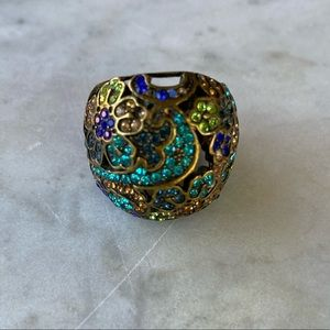 Oval Brass Statment Cocktail Floral Colorful Ring